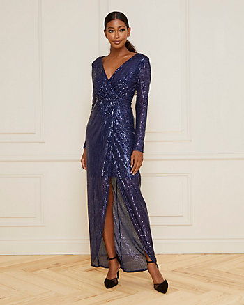 Sequin V-Neck High-Low Hem Gown