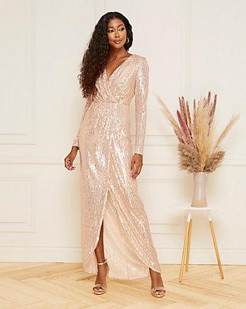 Sequin V-Neck High-Low Hem Gown