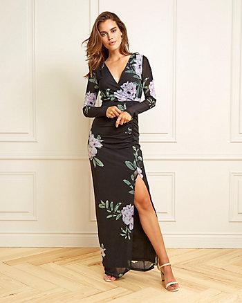 Floral Print Mesh & Knit V-Neck Gown
