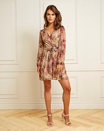 Floral Print Metallic Knit V-Neck Dress