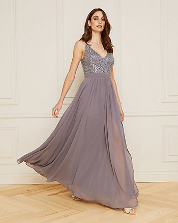 Sequin & Mesh V-Neck Gown