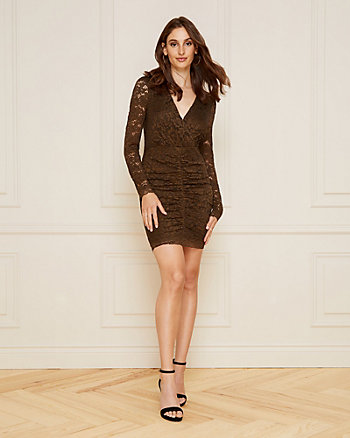 Ruched Lace Wrap-Like Dress