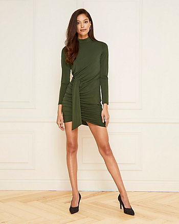 Pleated Knit Mock Neck Dress