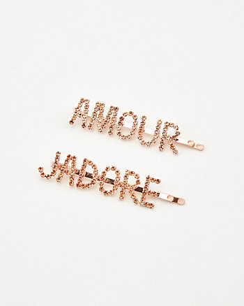 Amour & J'adore Hair Clips Set