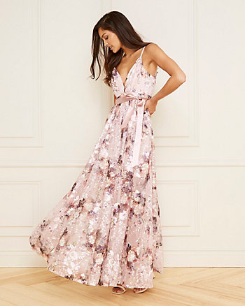 Embroidered Twill V-Neck Flowy Gown