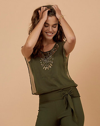 Beaded Chiffon Knotted Blouse