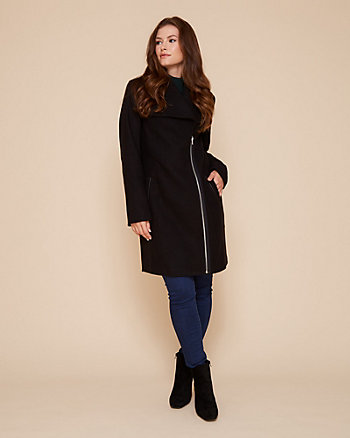 Cashmere-Like Asymmetrical Zip-Front Coat