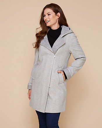 Hooded Herringbone Asymmetrical Coat