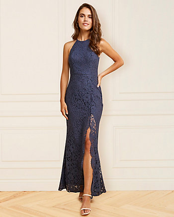 Lace Halter Neck Gown