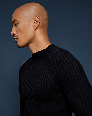 Rib Cotton Mock Neck Sweater