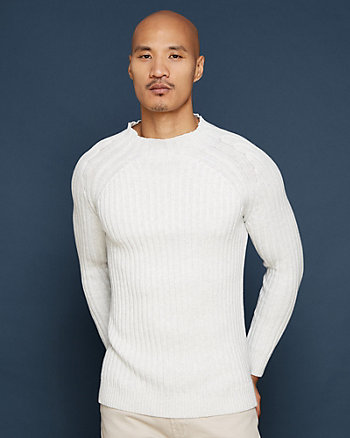 Rib Cotton Mock Neck Sweater