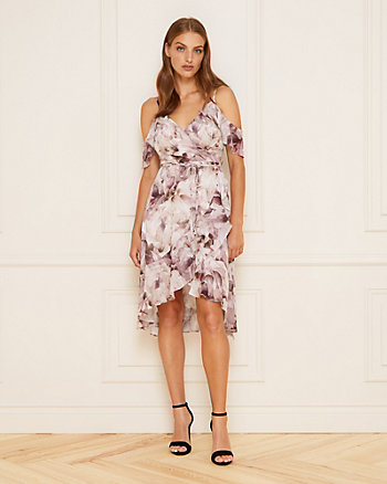 Floral Print Chiffon Cold Shoulder Dress