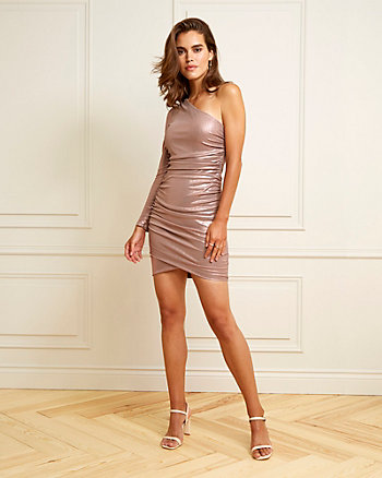 Foil Knit One-Shoulder Cocktail Dress