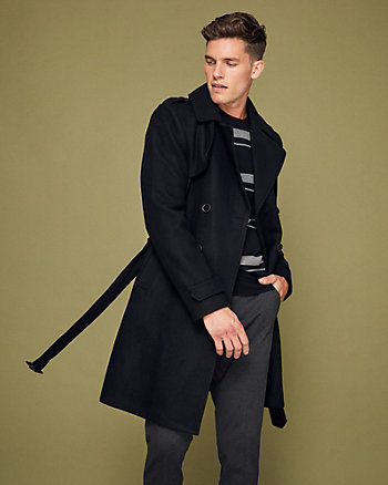 Melton Wool Notch Collar Trench Coat