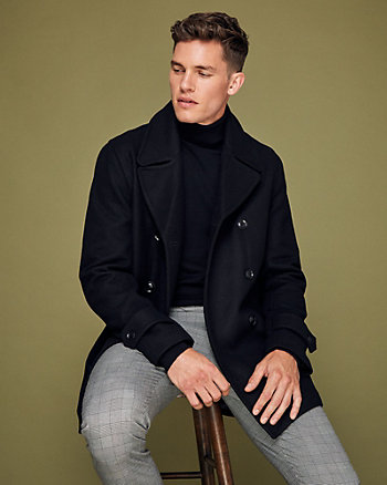 Melton Wool Notch Collar Pea Coat