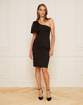 Ponte Knit One Shoulder Cocktail Dress