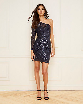 Embroidered Sequin One Shoulder Dress