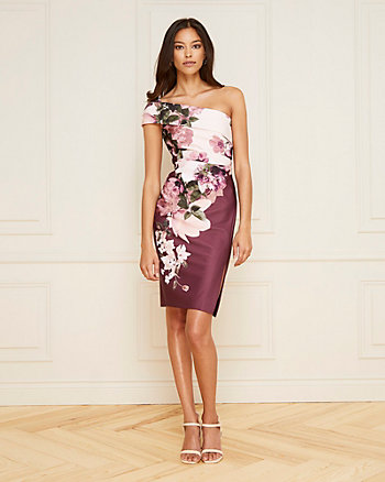Floral Print Knit Crêpe One-Shoulder Dress