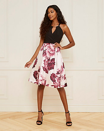 Floral Print Matte Satin Halter Neck Dress