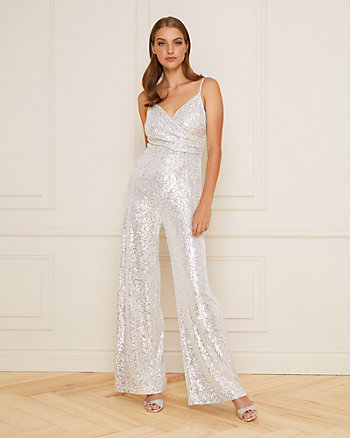 Sequin V-Neck Culotte Jumpsuit