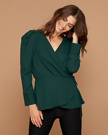 Wrap-Like V-Neck Blouse