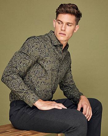 Leaf Print Cotton Tailored Fit Shirt