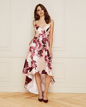Floral Print Twill V-Neck High-Low Dress