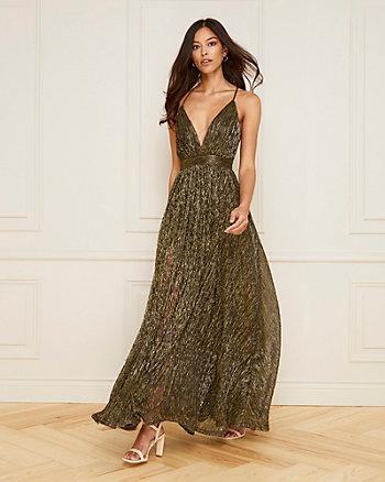 Glitter Mesh Deep-V Neck Gown