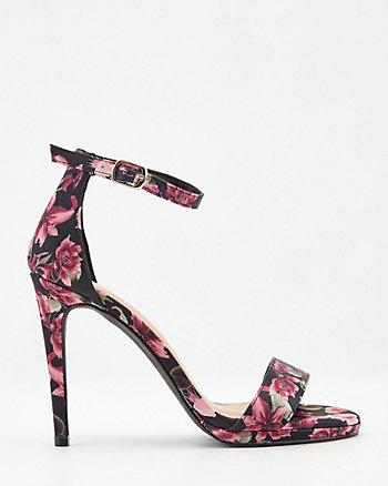 Sandale à motif floral en satin