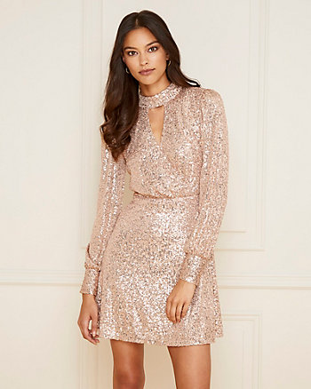 Sequin Mock Neck Fit & Flare Dress