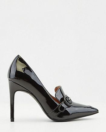 Patent Faux Leather Pointy Toe Loafer Pump