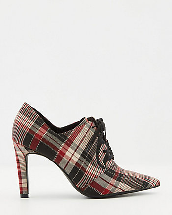 Check Print Pointy Toe Oxford Shootie