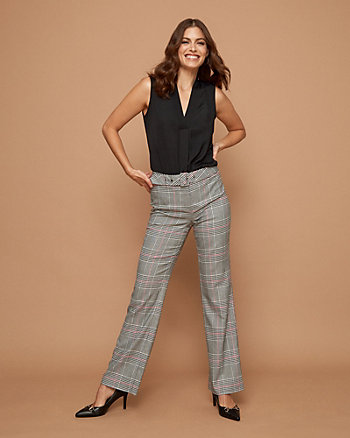 Belted Check Print Slight Flare Leg Pant