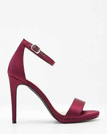 Satin Platform Ankle Strap Sandal