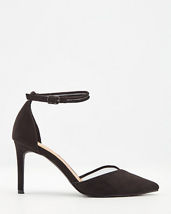 Mesh & Faux Suede Pointy Toe Pump