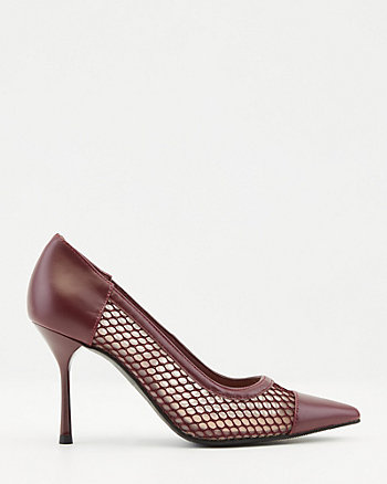 Mesh & Faux Leather Pointy Toe Pump