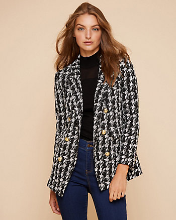 Houndstooth Print Double Knit Blazer