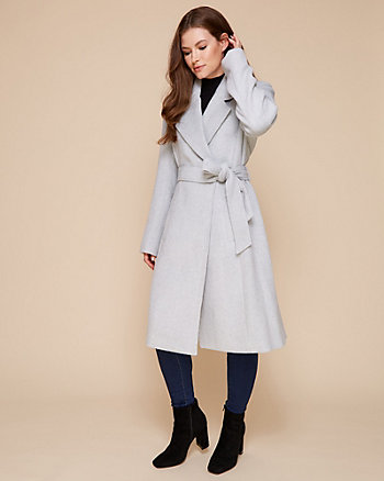 Wool Blend Open Collar Wrap Coat