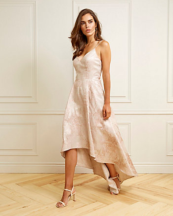 Jacquard V-Neck High-Low Gown