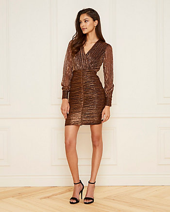 Metallic Knit Faux Wrap Ruched Dress