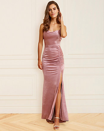 Satin Knit Cowl Neck Gown
