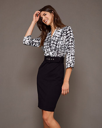 Belted Houndstooth Wrap-Like Dress