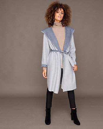 Hooded Knit Wrap Coat
