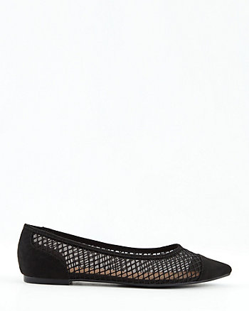 Mesh & Faux Suede Pointy Toe Flat