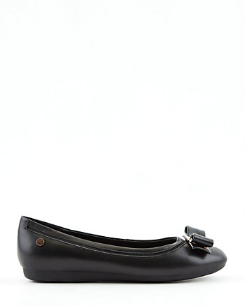 Leather Round Toe Ballerina Flat