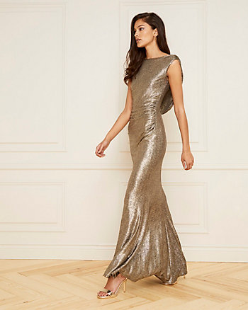 Foil Knit Open Cowl Back Gown