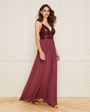 Embroidered Sequin Deep-V Gown