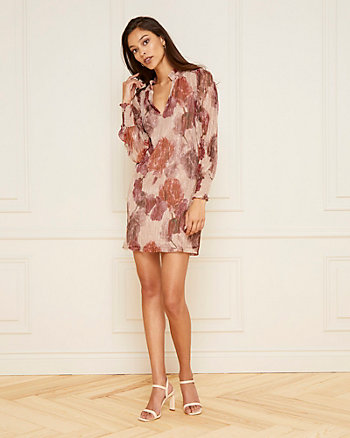 Floral Print Metallic Knit Tunic Dress