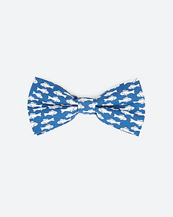 Fish Print Cotton Bow Tie