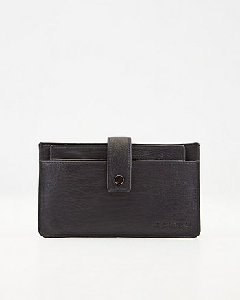 Pebbled Faux Leather Card Holder Wallet